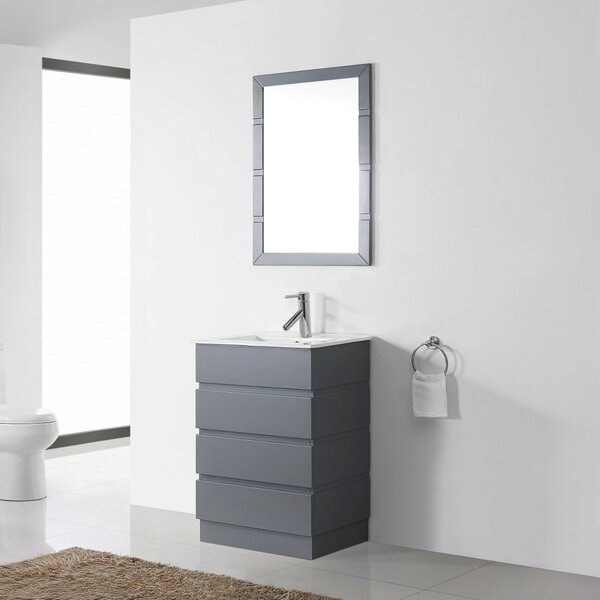 Bratton 24 Single Contemporary Bathroom Vanity Set with Ceramic Top and Mirror by Wrought Studio