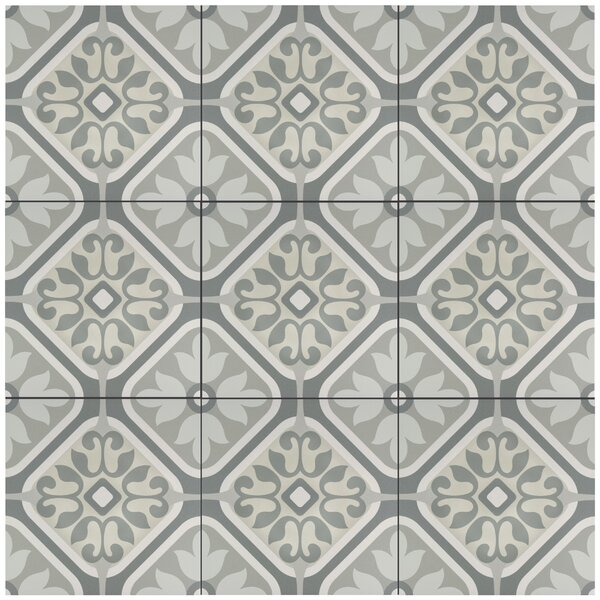 Artiste Atelier 13 x 13 Porcelain Field Tile in Flor Gray by EliteTile