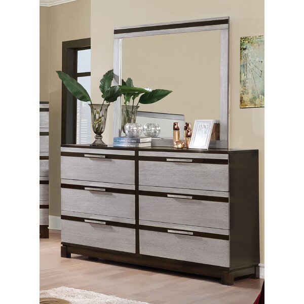 Dowd 6 Drawer Double Dresser with Mirror by Brayden Studio