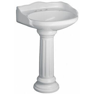 Online Reviews Vicki Vitreous China Circular Pedestal Bathroom Sink with Overflow By Barclay