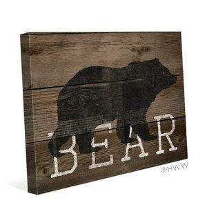 Bear Silhouette Graphic Art on Wrapped Canvas by Click Wall Art