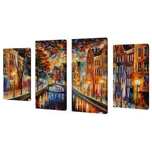 Amsterdam, Night Canal by Leonid Afremov 4 Piece Painting Print on Wrapped Canvas Set by Picture Perfect International