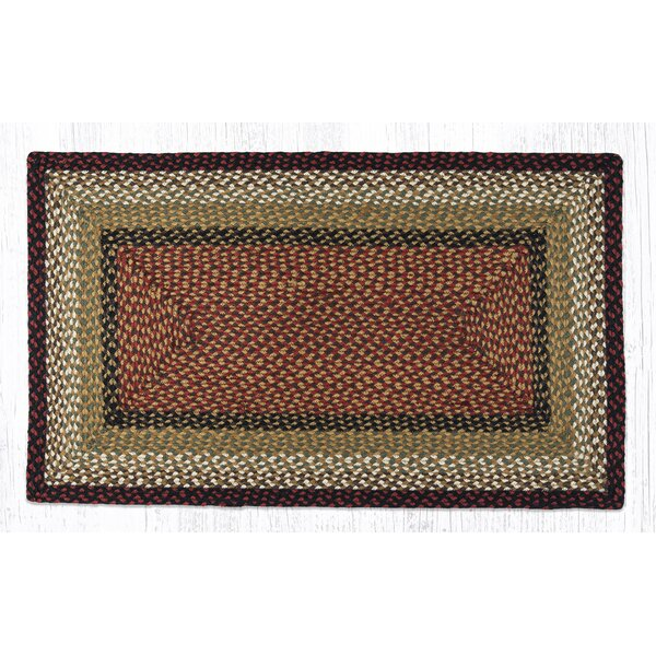 Burgundy/Mustard Braided Area Rug by Earth Rugs