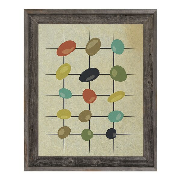 Khaki Skipping Stones Framed Graphic Art on Canvas by Click Wall Art