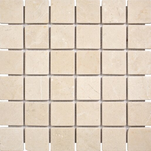 Crema Marfil Tumbled 2 x 2 Stone Mosaic Tile by Parvatile