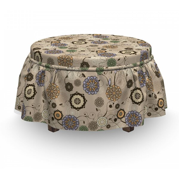 Floral Round Flower 2 Piece Box Cushion Ottoman Slipcover Set By East Urban Home