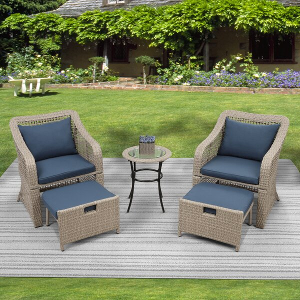 Buckelew 5 Piece Rattan Sectional Seating Group