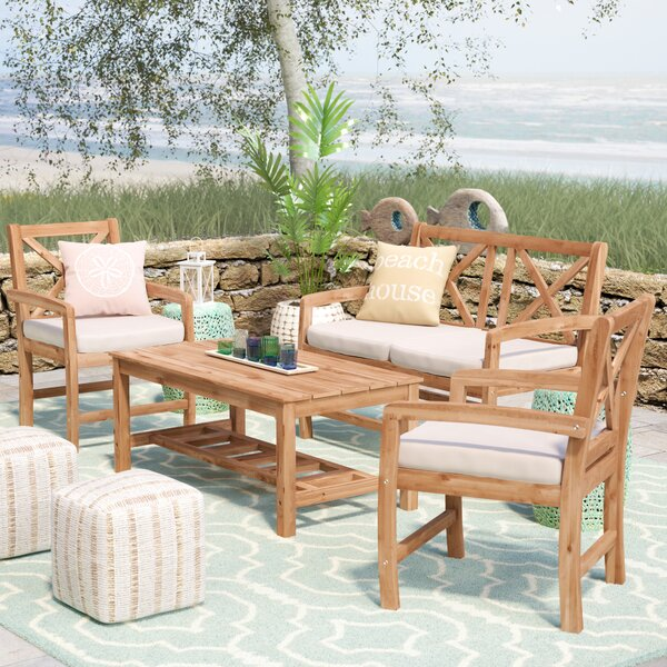 Ladder Base Patio Coffee Table by Rosecliff Height