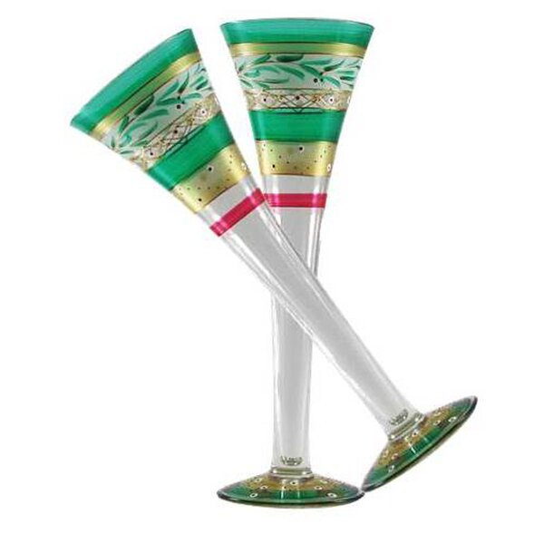 Christmas Garland Flute Glass (Set of 2) by Golden Hill Studio