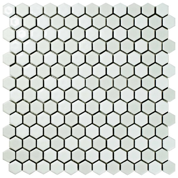 Astraea Hex 0.9 x 1.01 Porcelain Mosaic Tile in White by EliteTile