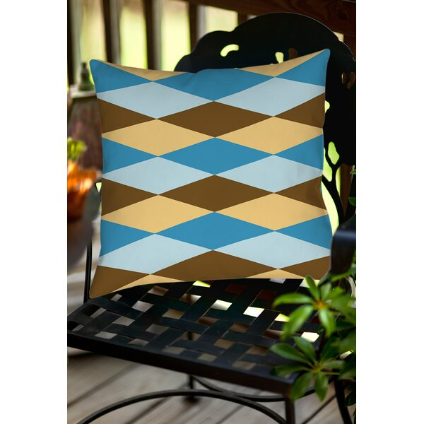 Bold in Blue Argyle Indoor/Outdoor Throw Pillow by Manual Woodworkers & Weavers