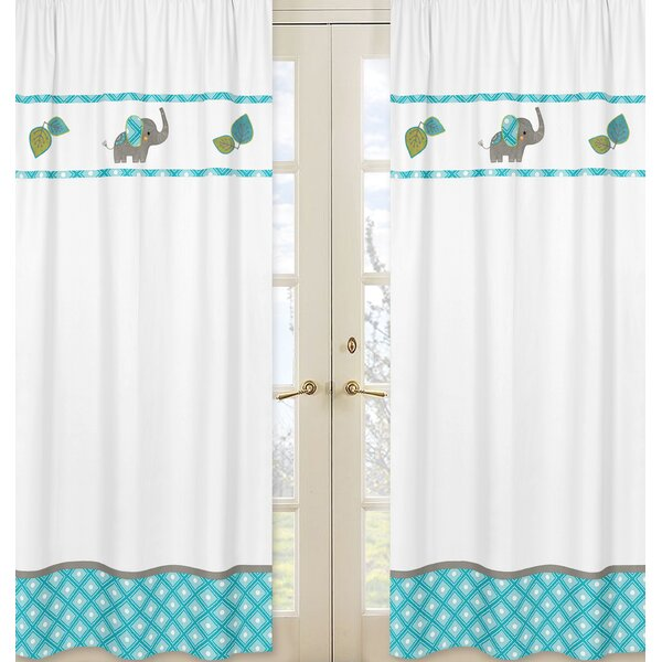 Mod Elephant Wildlife Semi-Sheer Rod pocket Curtain Panels (Set of 2) by Sweet Jojo Designs