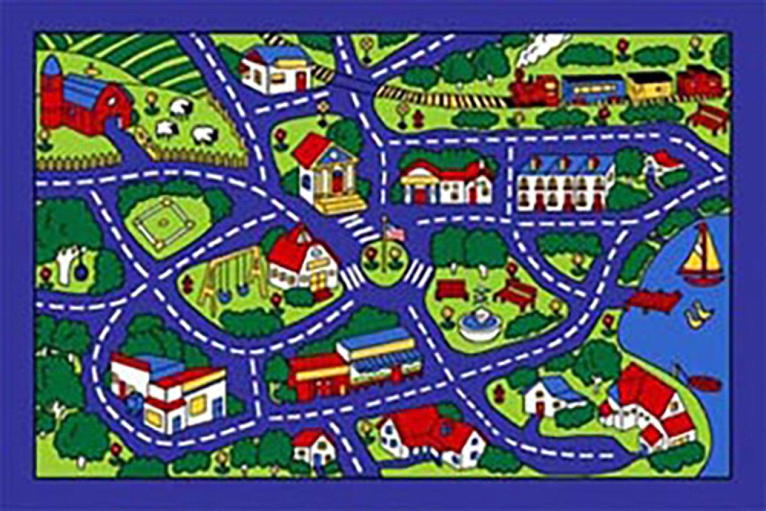 Kids Port Town Street Map Blue Area Rug