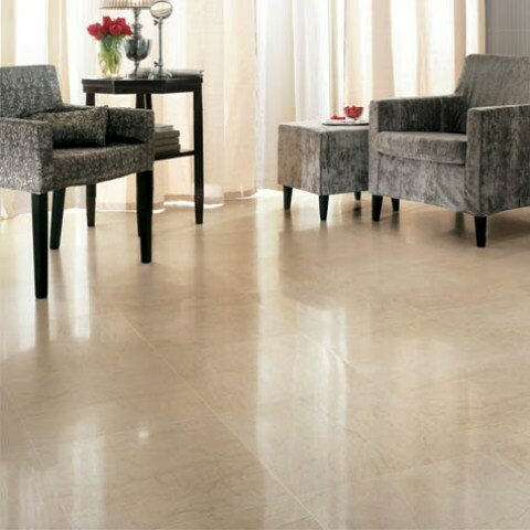 12 x 12 Marble Field Tile in Polished Crema Marfil