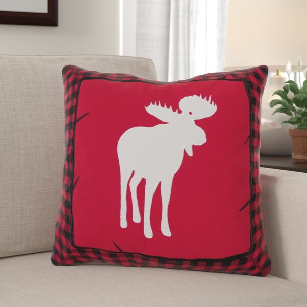 Westra Buffalo Check Moose Throw Pillow by Millwood Pines