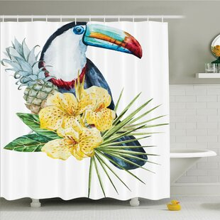 Tropical Toucan Bird Exotic Shower Curtain Set ByAmbesonne