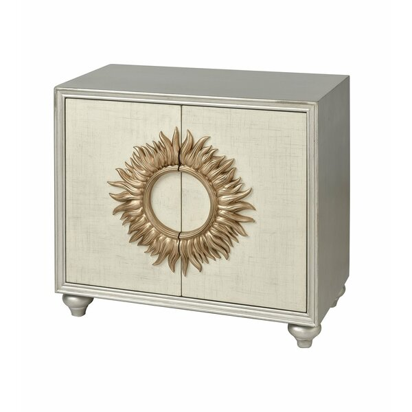 Akeem 2-door Cabinet In Antique Silver And Cream Linen With Gold Leaf Sunburst by World Menagerie World Menagerie