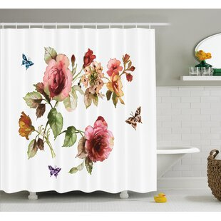 Chaney Shabby Elegance Roses Buds Leaves Tulips Floral Details Butterflynatural Print Shower Curtain ByWinston Porter
