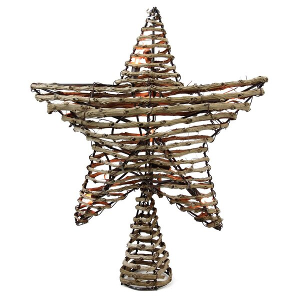Natural Rattan Star Christmas Tree Topper by The Holiday Aisle