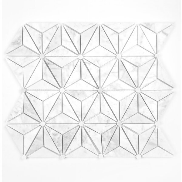 Geometric Hexagon Random Sized Marble Mosaic Tile in White by Abolos