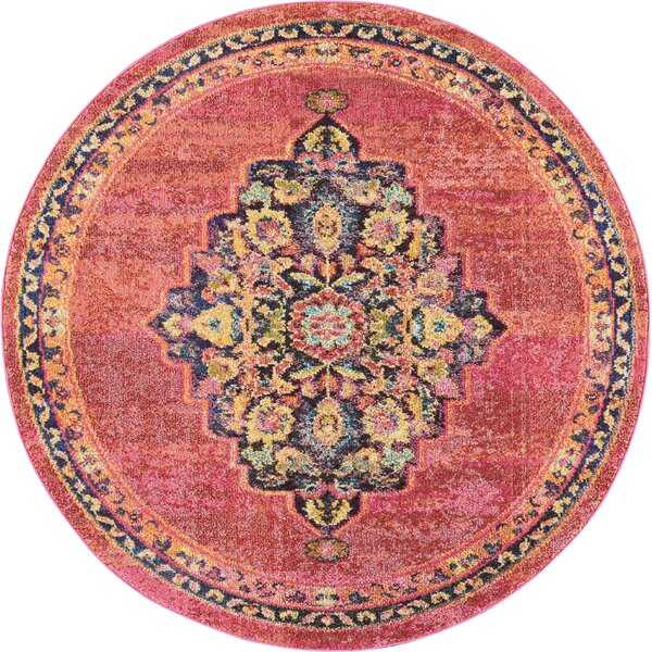 Lundy Traditional Medallion Pink/Yellow Area Rug by World Menagerie