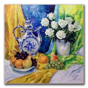 'Still Life with Blue Teapot' by Yelena LammFramed  Painting Print on Wrapped Canvas by Trademark Fine Art