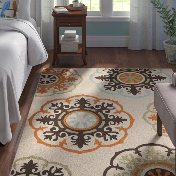 Centeno Power Loomed Beige/Orange/Brown Indoor/Outdoor Area Rug by Winston Porter