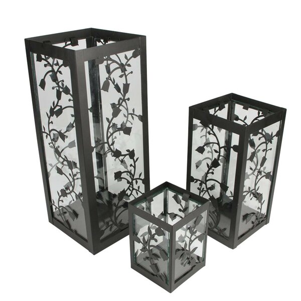 Floral Pillar 3 Piece Metal/Glass Lantern Set by August Grove