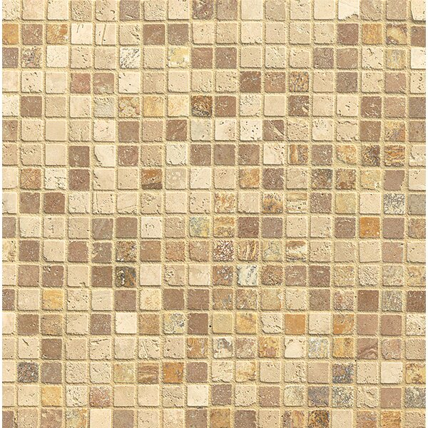 0.68 x 0.68 Travertine Mosaic Tile in Beige by Bedrosians