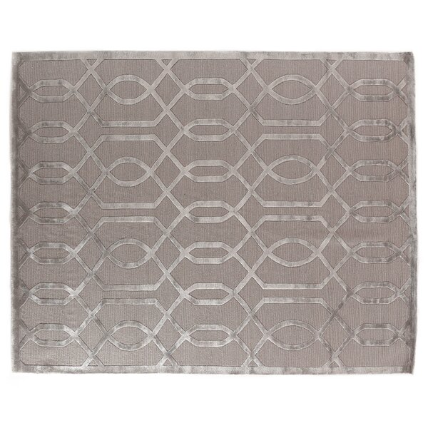 Hand-Knotted Wool/Silk Gray/Silver Area Rug by Exquisite Rugs