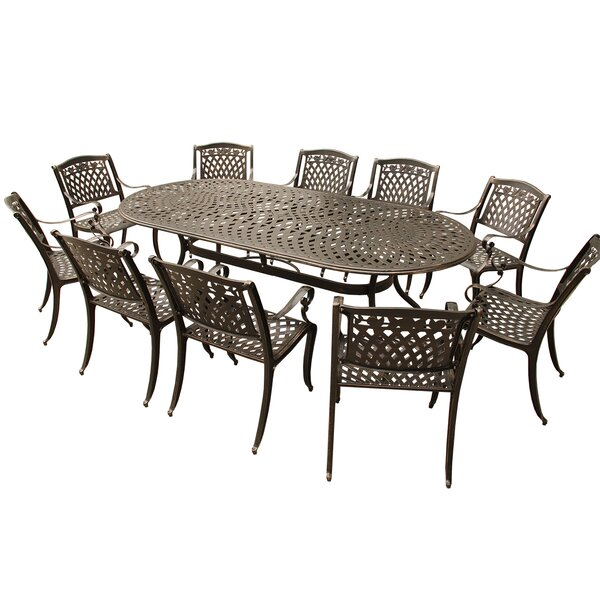 Caskey Rose Outdoor Mesh Lattice 11 Piece Dining Set by Fleur De Lis Living
