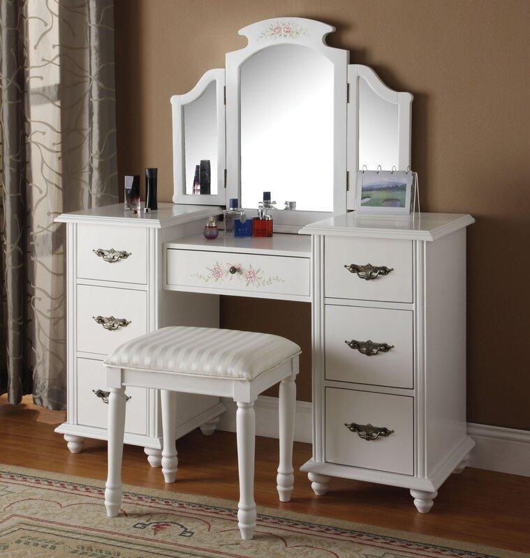espresso makeup vanity set. Makeup Vanity Set with Mirror Infini Furnishings  Reviews Wayfair