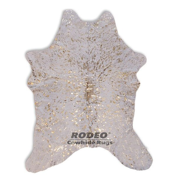 Hand-Woven White/Gold Area Rug by Rodeo