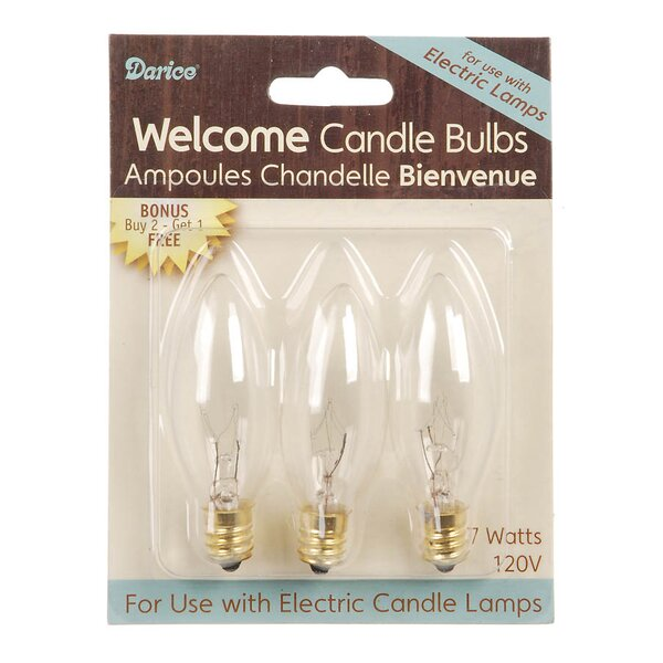7W E12 Incandescent Candle Light Bulb (Set of 3) by Darice