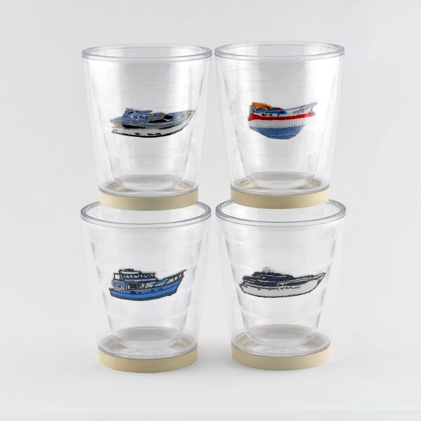 Newport Power Boat Non-skid 4 Piece 12 oz. Plastic Every Day Glass Set by Galleyware Company
