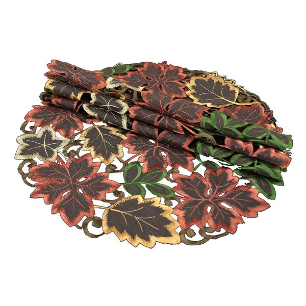 Dainty Leaf Embroidered Cutwork Harvest Placemat (Set of 4) by Xia Home Fashions