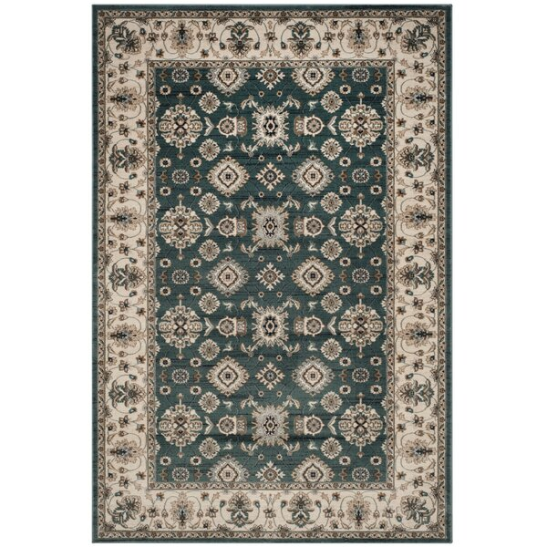 Briarcliff Teal/Cream Area Rug by Charlton Home