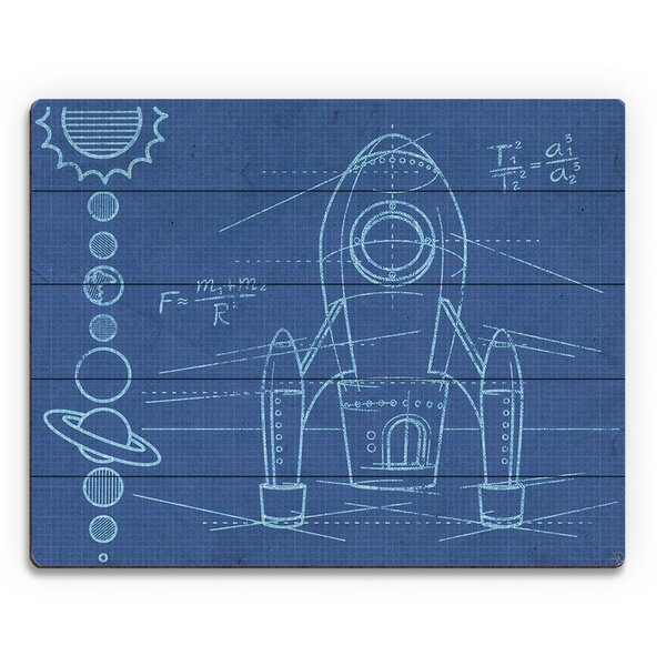 Rocket Blueprint Graphic Art on Plaque by Click Wall Art