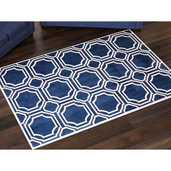 Maritza Power Loomed Navy/Ivory Area Rug by Willa Arlo Interiors