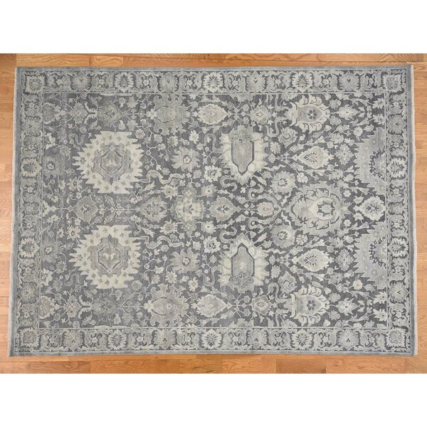 One-of-a-Kind Corentin Hand-Knotted Gray 9' x 12'4 Rectangle Area Rug