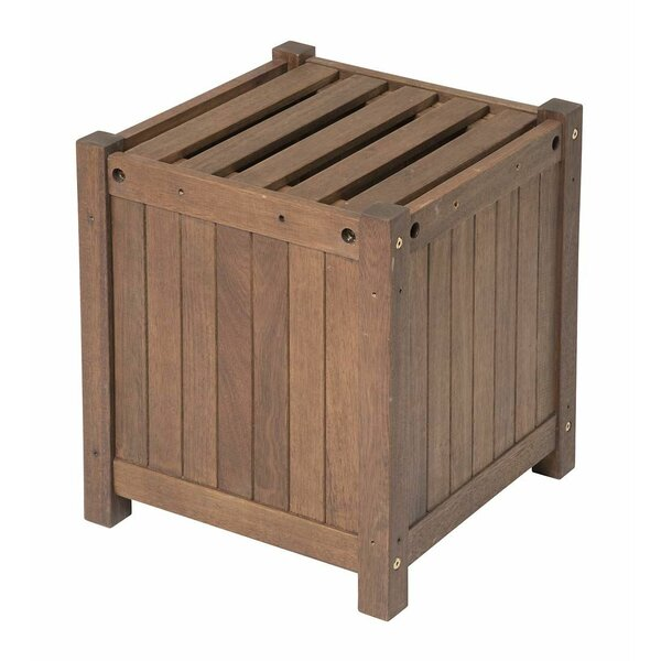 Outdoor Eucalyptus Square Wood Planter Box by Plow & Hearth
