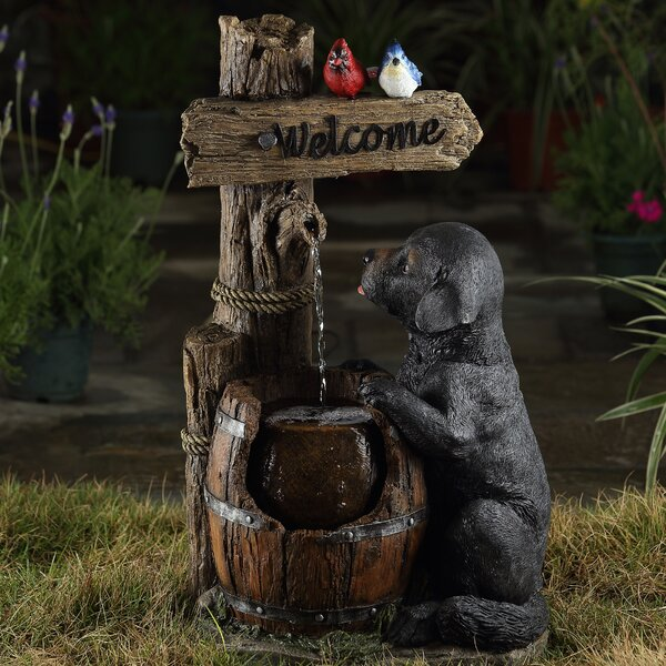 Resin/Fiberglass Dog and Cask Water Fountain by Jeco Inc.