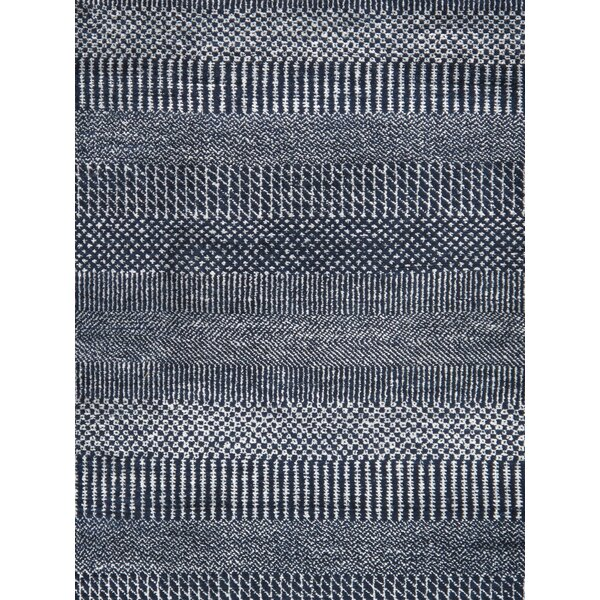 Transitional Hand-Knotted Wool/Silk Navy Area Rug by Pasargad
