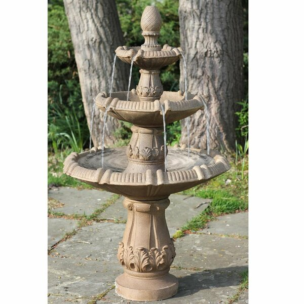 Polystone Traditional 3 Tier Leaf Outdoor Water Fountain by Northlight Seasonal