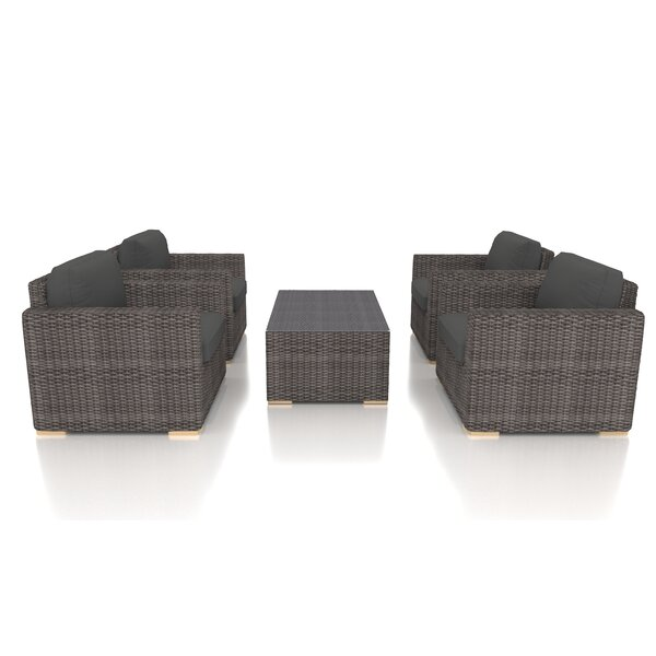 Holcomb 5 Piece Rattan Multiple Chairs Seating Group with Sunbrella Cushions by Rosecliff Heights