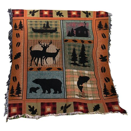 Bear Lodge Tapestry Cotton Throw by Manual Woodworkers & Weavers