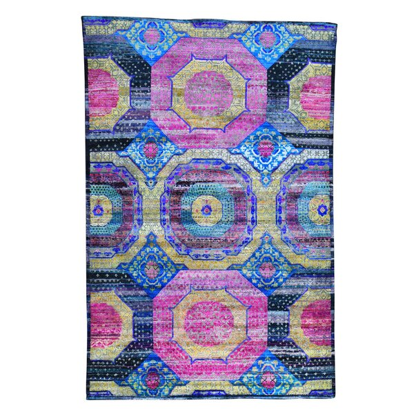 One-of-a-Kind Grasser Overdyed Worn Hand-Knotted Pink/Royal Blue Area Rug by Bloomsbury Market