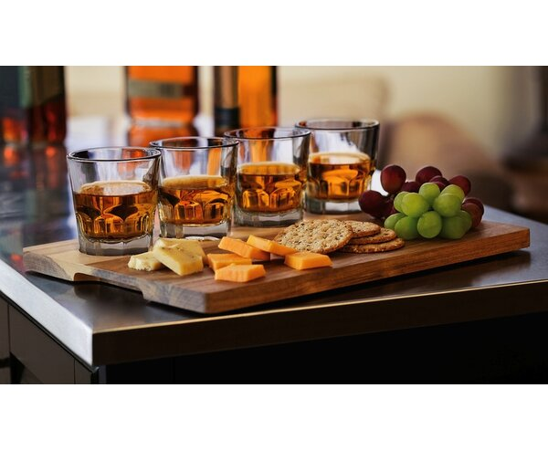 Craft Spirits Whiskey Flight 5.5 oz. Glass Cocktail Glass with Wood Carrier (Set of 4) by Libbey