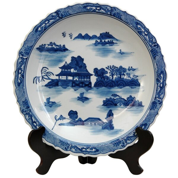 Christiane Decorative Plate in Ming Blue and White by World Menagerie