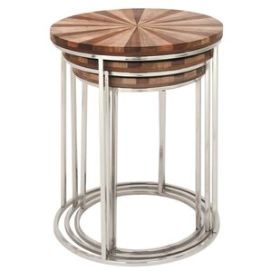 Figueiredo Stainless Steel Wood 3 Piece Nest..